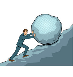businessman pushing rock uphill pop art vector image vector image