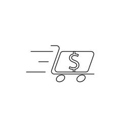 dollar cart line icon vector image