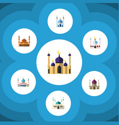 flat icon mosque set of islam muslim structure vector image vector image