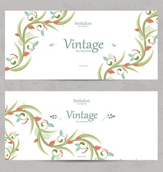 floral invitation cards for your design vector image vector image