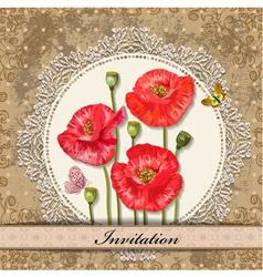 invitation poppy vector image