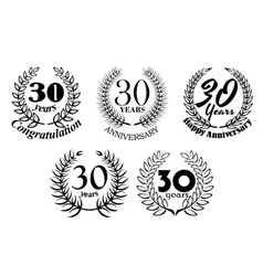 Set of 30 Years anniversary laurel wreaths vector image vector image