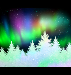 christmas background with northern lights vector image