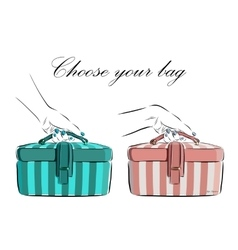 Hand drawn female bag with wide stripes icon vector image vector image