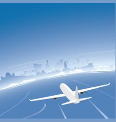 Los angeles skyline flight destination vector