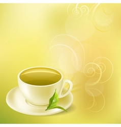 pastel background with cup of green tea vector image vector image