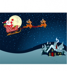 Santa Claus in sled vector image vector image