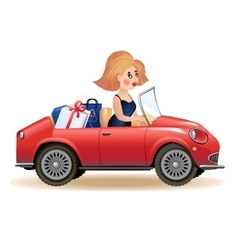Surprised woman driving car vector