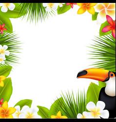 tropical frame with frangipani vector image vector image