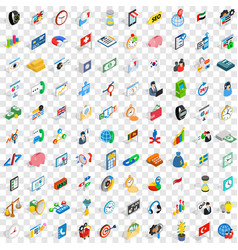 100 business strategy icons set isometric style vector