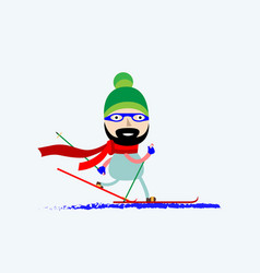 a smiling man skiing skier in vector image