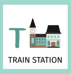 Alphabet card with train station building vector
