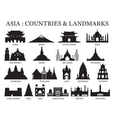 Asia countries landmarks silhouette vector