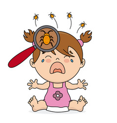 Baby girl crying because she has lice vector