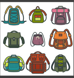 backpacks or rucksack isolated icons vector image