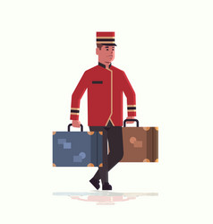 bell boy carrying suitcases service concept vector image