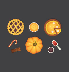 Berry and pumpkin pie icon isolated vector