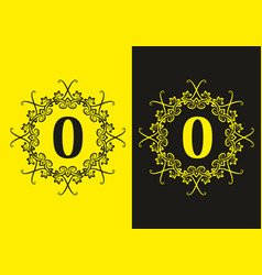 black yellow o initial letter in classic frame vector image