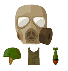 Bullet-proof vest mine helmet gas mask vector