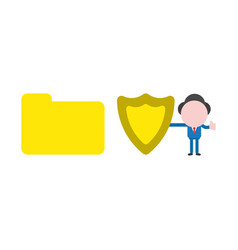 businessman holding guard shield with closed file vector image