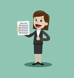 businesswoman is holding check list paper cartoon vector image