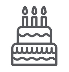 cake with candles line icon food and sweets vector image
