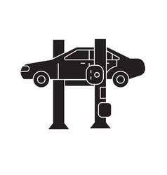 car lift black concept icon car lift flat vector image