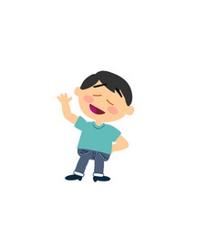 cartoon character asian boy greeting vector image
