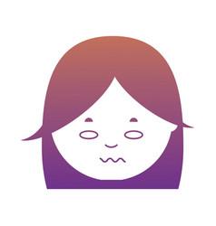 cartoon woman face icon vector image