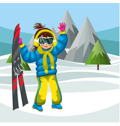 cartoon young woman with skis waving hello vector image