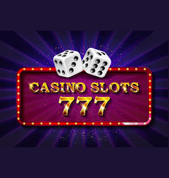 Casino sign with golden dices vector