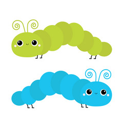 caterpillar insect icon set crawling vector image