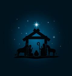 Celebration merry christmas manger flat design vector