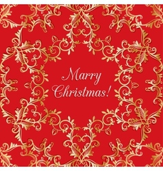 Christmas Greeting card with snowflake red vector image