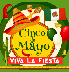 cinco de mayo mexican party greeting card vector image