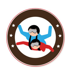 Circular emblem with couple in parachute vector