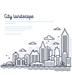 City landscape template thin line city landscape vector