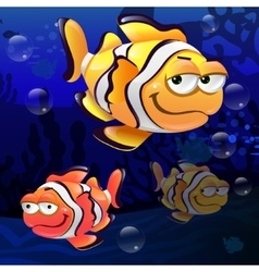 Clownfish under the sea vector