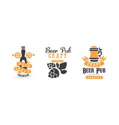 craft beer pub logo templates design set premium vector image