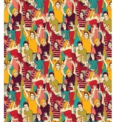 Crowd active happy people seamless color pattern vector