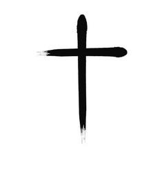 Crucifix cross hand drawn paint brush icon vector