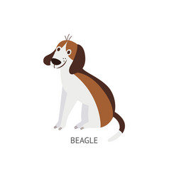 Cute cartoon beagle dog drawing isolated on white vector