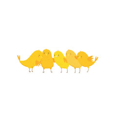 Cute funny happy yellow chickens hugging and vector