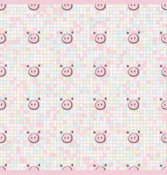 cute pig nose doodle on seamless square pattern vector image