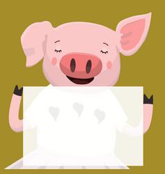 cute pig print vector image