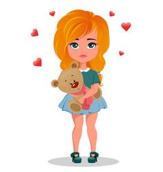 Cute redhead cartoon girl holding toy teddy bear vector