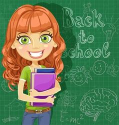 Cute teenager girl at the blackboard vector image