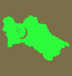 Detailed of a map of turkmenistan with flag eps10 vector