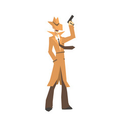 Detective character in brown coat standing and vector