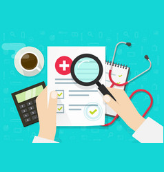Doctor analysing medical health insurance vector
